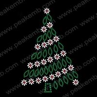 Free Shipping Wholesale 50Pcs/Lot Bling Christmas Tree Rhinestone Transfer Motif Designs Hotfix Strass For Garment Accessory