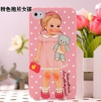 Free Shipping Hot Elegent Cartoon Cute British Girl Paper Doll Designer 8 Colors Case Cover for Apple iPhone 4 4s 5pcs/lot (S6F)