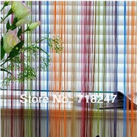 2pcs/lot 100*200cm Rainbow Colorful Line String Door Curtain / Room Divider / Decoration Curtains, Ready Made, Free shipping
