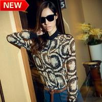 new 2013 flower printed brand blouses innovative items tops blouse shirt Collar long sleeve shirt bk612