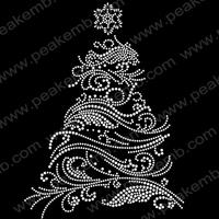 Wholesale Top Quality Free Shipping Wholesale 30Pcs/Lot Crystal Transfer Christmas Tree Rhinestone Designs Hot Fix Patterns