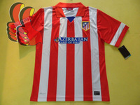 A+++ Thailand Quality 2013 2014 Spain Atletico Madrid Atletico De Madrid Thai Soccer Jersey Fan Version Customize David Villa