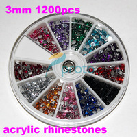 Freeship-3mm 1200pcs Colorful Rhinestone Beads in WHEEL for Nail Art Decoration and Iphone and laptop DIY Decoration SKU:D0193
