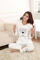 Cute bear with a hood Women's coral fleece sleepwear autumn & winter ladies' long-sleeve pajamas nightwear nightgown set