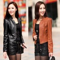 2013 spring and autumn women's motorcycle PU clothing female short design slim coat plus size women's jacket
