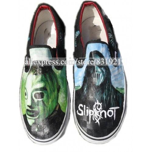 Grátis deuses transporte de Metal Slipknot máscaras pintadas mão sapatos Cnvas um fixo baixo para ajudar homens e mulheres sapatos()