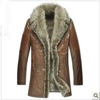 cow leather fur parka Plus size XXXL 4XL Men's Genuine Leather & Suede Aristocracy Luxurious Men fur Long Brand Coat Jacket mans
