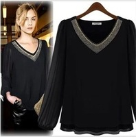 2013 fashion thickening autumn long-sleeve chiffon shirt top shirt basic shirt female