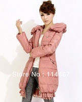 2013 lace decoration down coat medium-long plus size female slim women's xxxxxxl