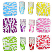 5set/lot Festival Supplies Disposable Zebra Print Square Paper Tableware Paper Plates&Cup