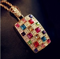 CTT Wholesale  Fashion Jewelry For Women 2013 New Gold Colorful Crystal Necklace Super Shiny