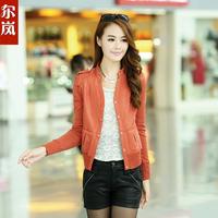 ON Sale promotion 2013 spring and autumn women's motorcycle PU clothing female short design slim leather jacket coat  HOT