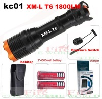 ultrafire kc01 CREE XM-L T6 1800 Lumens Zoomable Led flashlight torch + 2*4000mah Battery+Charger+holster+Remote Pressure Switch