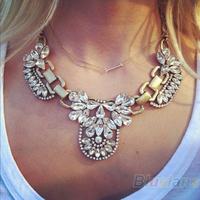 Luxury Women Noble Crystal Cluster Chain PENDANT Necklace Retro Gold Bubble Bib Statement Necklace Wedding Wear
