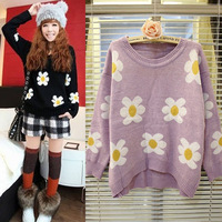2013 New Arrival Women's Fresh Cute Floral Print Sweaters Long Sleeve Loose Style Girl's Pullovers WS002