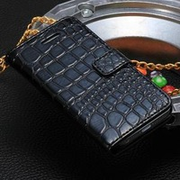 Fashion Crocodile Leather PU Wallet Case For Iphone 5c Stand Cover Free shipping