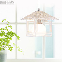 Free shipping Rattan pendant light rustic lamps rattan lamp single cage lights small house lamp