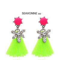 Freeshopping 2013 fashion earrings jewelry romantic Metal Tassels transparent  crystal Earrings  E