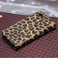Fashion Leopard Print Leather PU Wallet Stand Case For Iphone 5c Cover Free shipping