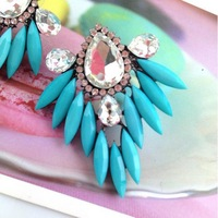 Drop Statement earrings 2013 luxury brand Pink Blue Crystal Stone Flower Earrings unique rhinestone jewelry free shipping