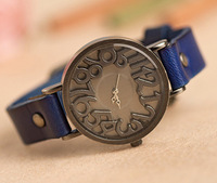 2013 New Fashion Korean Relief Dials Retro Leather Watch Woman Watches Casual Leather Watch