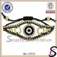 High quality  fashion rhinestones evil eye handmade bracelets jewelry for women