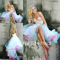 2013 new arrival stunning sweetheart bodice front short long back tulle rainbow prom dress WH365