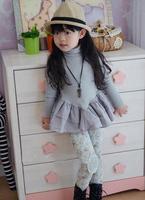 wholesale girl COTTON 2 pcs suits, long-sleeved t shirt +leggings ,child clothing,free shipping 5set/lot UI-09