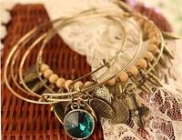 Fashion Vintage  Female Multi-layer Personality Gem Four Leaf  5 Piece Set Bracelet