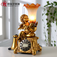 Fashion vintage antique telephone table lamp cupid telephone desk lamp 2 quality home decorations