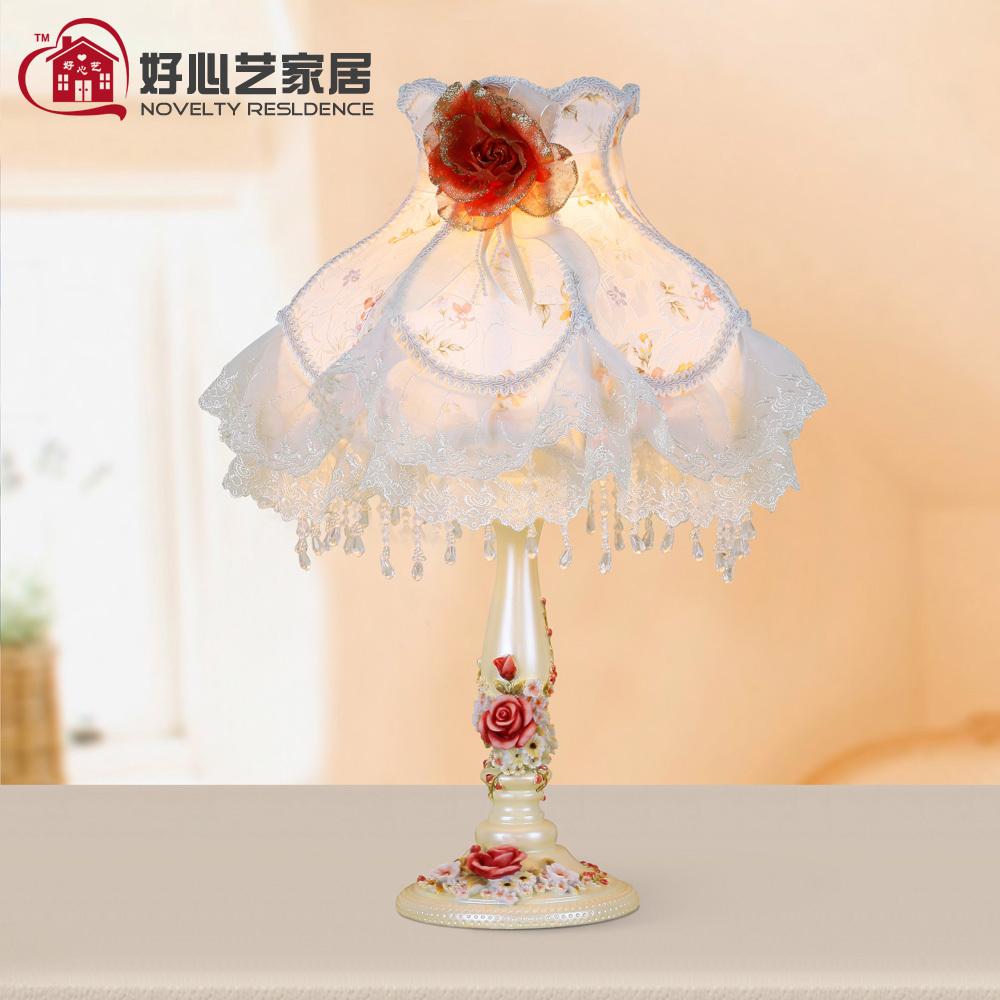 Romantic lace rustic table lamp rose table lamp lace princess lamp decoration(China (Mainland))