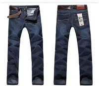 wholesale 2 Color  Length 113cm Brand Designer Blue Denim Straight Men's clothing jeans men Pants Free shipping Plus size 38 40