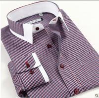 38-43 44 45 46 New 2013 Long Sleeve Cotton Casual Autumn men Stripe Plaid Dress shirt business Shirts Plus size 3XL 4XL 5XL 6XL