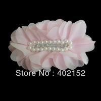 Hot!New arrival free shipping 4inch chiffon flower rhinestone with pearl children hair accessories fabric hair flower 20pcs/lot
