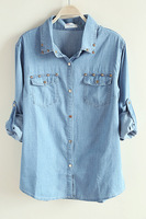 2013 rivet denim long-sleeve shirt female all-match jeans shirt  free shipping