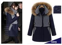Wool & Blends New 2013 Fashion Women European Style Cashmere Coat Thick Raccoon Fur Big size S M L XL XXL