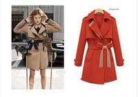 Za Brand The khaki Red Korea style Women New 2013  Long Trench Women's Winter Coats Big Size M L XL XXL free shipping