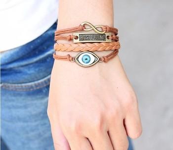 SL015  New Christmas Gifts Vintage Handmade Braided Leather Blue Eye Bracelet Best Friend Jewelry