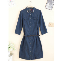 2013 autumn fashion slim all-match wrist-length sleeve denim one-piece dress free shipping