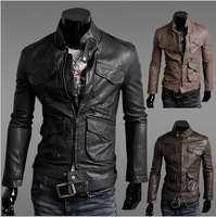 FreeShipping New Fashion arrival HOT Men's leather jackets,Pu Leather for men slim Locomotive short sexy design coat jacket W772