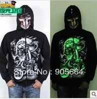 Free shipping.Prefect man Hoodies & Sweatshirts.man' skeleton coat.hip-top.warm Brand dance clothes.fashion 3D jacket.