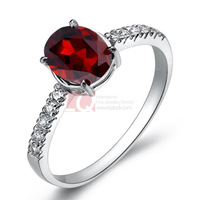 LQ Fine Jewelry Genuine 925 Sterling Silver Rings for Women Natural Garnet Stone Ring Platinum Overlay High Polish End finish