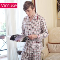 Spring and autumn sleepwear male 100% cotton long-sleeve set lounge plaid xxxxl plus size