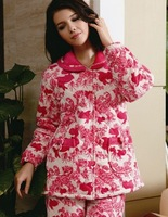 Winter women's sleepwear thickening plus cotton set coral fleece lounge cotton-padded jacket cotton-padded plus size