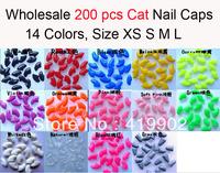 Lots 200pcs Soft Cat Pet Nail Caps Claw Control Paws off + 10pcs Adhesive Glue 14 Colors Size XS S M L Free Shipping