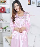 free shipping Women's faux silk embroidered sexy spaghetti strap robe twinset silk sleepwear bathrobes lounge