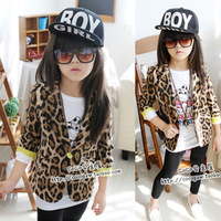2013 autumn child cardigan girls fashion clothing fashion leopard print single pocket outerwear blazer