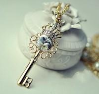 2013 Women Fashion Gem Key Pearl Necklace Zircon Rhinestone Necklace