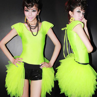 Modern dance costume ds twirled clothing sexy neon yarn