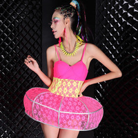 Female costume ds neon fish bone lace color block one piece lantern skirt